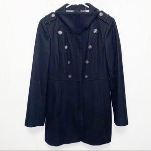 Guess Black Wool Blend Long Line Grunge Coat